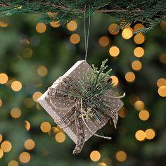 Natural Polka Dotted Present Ornament | Kirklands