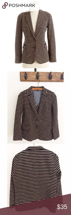 """J.Crew Maritime Striped Blazer Our must-have maritime blazer is rendered in a spring-weight, skinny-stripe knit ponte cotton that has a soft slub texture and holds its shape just beautifully, so it's perfect for that mix of laid-back and polished that we adore. We updated the original with bracelet sleeves and two buttons at the waist for a more fitted silhouette that works with everything from wide-leg pants to feminine dresses to denim shorts. 36"""" chest, 22.5"""" length, 21"""" sleeve…"""