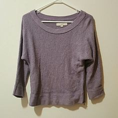 Loft Gray ish Purple Scoop Neck Sweater Perfect condition. This sweater features a zipper on the side. LOFT Sweaters Crew & Scoop Necks