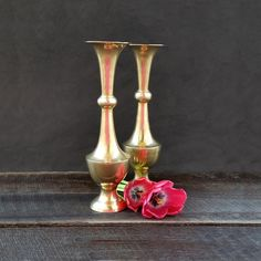 Tall Brass Vases - Gold Vase - Vintage - Made in India by TheCherryAttic on Etsy