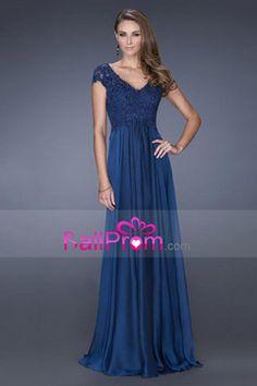 2015 Evening Dresses V-Neck Cap Sleeve A-Line Chiffon With Applique And Beading US$ 178.49 BAP4Q6Z1NC - BallProms.com