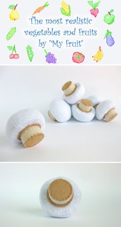 Felt play food Mushroom (1 pc) by MyFruit I suggest you to buy realistic stuffed toys, made of felt for your little ones. For playing the Garden Harvest