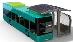 Wireless Solar Charger Keep E-Buses Rolling - ATC Solar Curve Bus Stop concept by Studio Mango