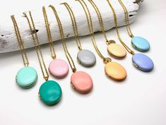 Last Brass Oval Photo Locket Enamel Necklace with long gold surgical steel chain and pastel color pendant with or without initial Natural Oils For Skin, Lavender Blue, Stainless Steel Chain, Locket Necklace, Jewelry Shop, Turquoise Necklace, Photos, Enamel, Brass