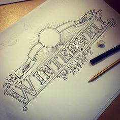Winterwell by Tobias Hall, via Behance, graphic hand lettering, scroll, motif
