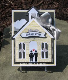 Obsessed with Scrapbooking: Best Day Ever Wedding Easel Card uses Tie The Knot cartridge Hand Made Greeting Cards, Making Greeting Cards, Wedding Paper, Wedding Cards, Cricut Wedding Invitations, Invites, Scrapbook Paper Crafts, Paper Crafting, Shaped Cards