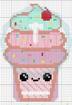 Capinha de celular Sorvete Kawaii Plastic Canvas Crafts, Plastic Canvas Patterns, Perler Bead Art, Perler Beads, Pixel Art Generator, Kawaii Cross Stitch, Pixel Art Grid, Pixel Beads, Anime Pixel Art