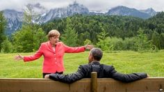 Merkel and Obama at the G7. Would be great for a caption competition!