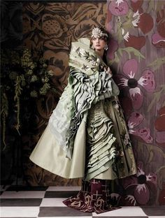 Paul Poiret turn of XIX and XX century fashions inspired . 'Fashioning the Century', Natalia Vodianova by Steven Meisel, Vogue US May Christian Dior Spring Summer 2007 Haute Couture Dior Haute Couture, Couture Fashion, Natalia Vodianova, Steven Meisel, Foto Fashion, Fashion Art, Editorial Fashion, Fashion Design, Vogue Fashion