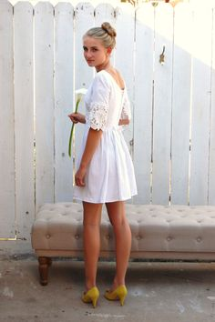 Vintage 60's White Linen and Lace Short Mod Wedding Dress Sz XS Small - epsteam via Etsy