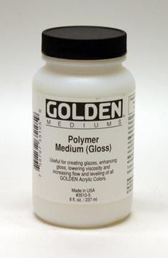 Polymer medium - A general purpose liquid medium useful for creating glazes, extending colours, enhancing gloss and translucency and increasing film integrity. Has a unique feel that is much more oil-like or resinous in nature and that promotes flow and levelling.