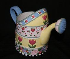 """Mary Engelbreit """"In Bloom"""" Large Ceramic Watering Can 2002 Signature Engraved"""