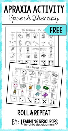 Apraxia Roll and Repeat Free Speech Therapy Articulation Activity! Perfect for preschool, pre-k, kindergarten, and early childhood. Free printable by Learning Resources for Child Development. Speech Therapy Worksheets, Preschool Speech Therapy, Speech Activities, Speech Language Therapy, Speech Therapy Activities, Speech And Language, Play Therapy, Therapy Ideas, Speech Therapy Shirts