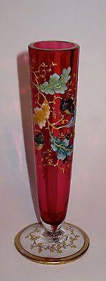 Moser-Cranberry-Vase-w-Enamel-Oak-Leaves-Glass-Acorns-Signed