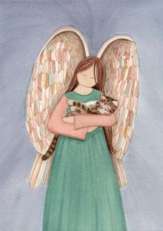 Tiger tabby cat with angel / Lynch signed folk by watercolorqueen