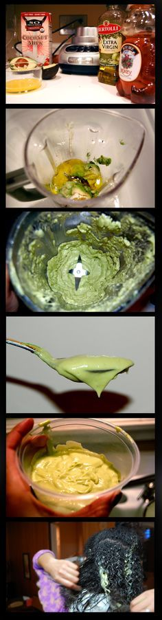 """Deep Conditioning Treatment - STOP breakage and promote long, healthy hair!!!!!!! 1 ripe avocado 1/4 cup coconut milk 1/4 cup extra virgin olive oil 1/4 cup honey 1 egg yolk Combine ingredients in blender. Set to """"puree"""" and blend until it has the consistency of lotion. Apply to entire head--root to ends. Sit under dryer for 20 minutes or longer with a cap. Rinse. For best results, repeat the same routine once a week or whenever you wash your hair!"""