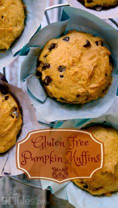 Pumpkin Muffins with Chocolate Chips - moist and yummy! Gluten-Free and Dairy-Free (easily vegan, too) |gfJules.com
