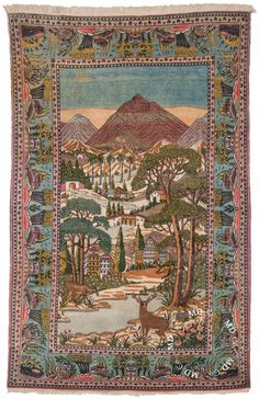 Persian Kashan Rug – Collector Rugs from Dilmaghani Persian Carpet, Persian Rug, Tabriz Rug, Turkish Design, Iranian Art, Naive Art, Red Rugs, Rare Antique, Textiles