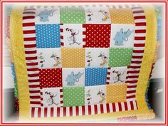Dr Seuss Quilt (looks like spotlight minky - LOVE this one for a baby quilt!)