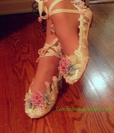 Faerie Bride' Shoes Princess Ballet Slippers by lambsandivydesigns