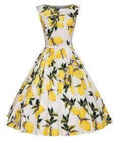 Vintage 1950s Rockabily Swing dresses Garden Party Picnic Dresses Yellow Lemon