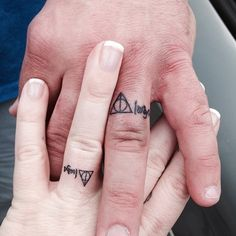 Wedding Ring Tattoos Harry potter wedding band tattoo - Various wedding band tattoos are there in the market like name initials tattoo, simple symbolic tattoo, matching band tattoos, heart band tattoos, ball Always Harry Potter Tattoo, Harry Potter Ring, Harry Potter Couples, Harry Potter Wedding Rings, Wedding Band Tattoo, Tattoo Band, 4 Tattoo, Simple Wedding Bands, Custom Wedding Rings