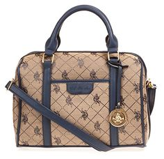US Polo ASSN Designer Handbags Womens Logo Jacquard Satchel Bag Navy More  Colors Available -- More info could be found at the image url. 375a786c63f60