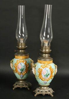 "PR ANTIQUE MAJOLICA FRENCH OIL LAMPS MEDUSA  circa 1880. Lamp switcher marked ""J.L. Paris."" Ht: 21.5"" Width: 6"" Depth: 4.5"""
