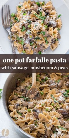 One Pot Farfalle Pasta with Sausage, Mushrooms and Peas is an easy, 30 minute one pot pasta recipe that the whole family will love! via pasta sausage One Pot Farfalle Pasta with Sausage, Mushrooms and Peas - Flavor the Moments Sausage Mushroom Recipe, Sausage Pasta Recipes, Italian Sausage Pasta, Pasta Dinner Recipes, Easy Pasta Recipes, Mushroom Recipes, Pasta With Sausage, Ground Italian Sausage Recipes, Italian Recipes