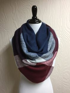 Colorblock Blanket Scarf - Maroon, Navy and White