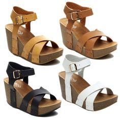 Refresh MARA-05 Women's Ankle Strap Comfort Criss Cross Platform Wedge Sandal #Refresh #PlatformsWedges