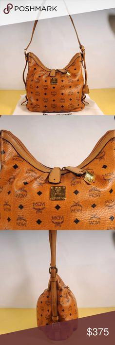 "Authentic MCM Visetos shoulder bag Bag is in really good condition, this is a medium size shoulder bag, coated canvas and cowhide leather, cognac in color, measures 11""9.4""4.7 MCM Bags Shoulder Bags"