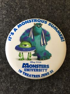 "Disney Pixar Monsters University Pin Button 3"" It's a Monstrous Summer Collect  