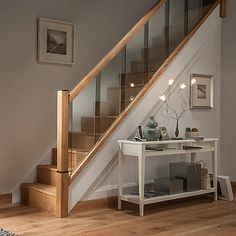 Cheshire Mouldings Reflections stair parts range creates the perfect modern staircase and includes newels, glass panels, handrails, baserails and more. New Staircase, Staircase Remodel, Staircase Makeover, Staircase Railings, Wooden Staircases, Stair Bannister Ideas, Stairs With Glass Panels, Glass Stairs, Interior Railings
