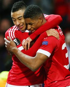 Marcus Rashford celebrates scoring Manchester United's second goal with Jesse Lingard