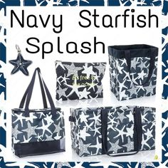 Starfish - a universal symbol of the ocean and beach. Take your love for the beach with you wherever you go with this beautiful Navy Starfish Splash pattern. Thirty One Totes, Thirty One Party, Thirty One Gifts, 31 Gifts, Easy Gifts, Teacher Appreciation Gifts, Teacher Gifts, Gifts For Kids, Gifts For Women