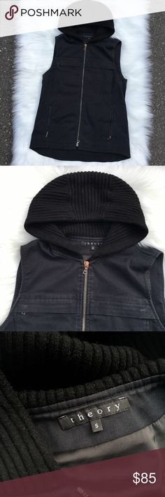 Theory hooded vest Very good condition layering vest from Theory. Lightweight body of mostly cotton (washed canvas feel) with zippered pockets on front hips and chest. Hood is ribbed knit. Please note light rub marks near zippers. Retails $400-$500. 64% cotton, 29% polyamide, 7% elastic. Made in USA. Offers welcome, no trades. Theory Jackets & Coats Vests