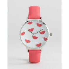 ASOS Watermelon Pink Pastel Watch (69.475 COP) ❤ liked on Polyvore featuring jewelry, watches, pink, asos watches, crown jewelry, asos, pink wrist watch and asos jewelry
