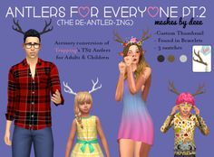 deeetron: DOWNLOAD: ADULTS | KIDS | BOTH Per request of the darling @javabeandreams here are Trapping/Lina's 'We're All Deer Here' from The Sims 2 for the The Sims 4. I put them under the bracelet category so you could wear bows/flowers/etc with them. The flower headband is not included it's from @sims4-marigold you can find it here. It shows up for all categories so your deers don't have to go swimming without their antlers. Let me know if anything is borked and I can't wait to see all…