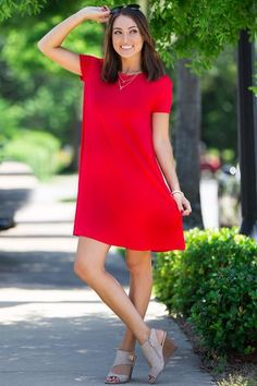 The Perfect Piko Short Sleeve Swing Dress-Red Piko Dress, Tunic Dresses, Short Sleeve Dresses, Neon Outfits, Dress Outfits, Summer Outfits, Mini Shirt Dress, Spring Dresses, Swing Dress