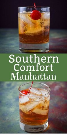 This Southern Comfort Manhattan is super delicious and perfectly balanced. There are only 3 ingredients that make this such a tasty drink! Bar Drinks, Cocktail Drinks, Yummy Drinks, Alcoholic Drinks, Bartender Drinks, Whiskey Cocktails, Cocktail Glass, Frozen Drink Recipes, Alcohol Drink Recipes