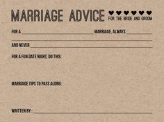 25 Wedding Advice Cards / Bridal Shower Game by SouthernCards
