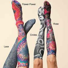 Support Like Crazy Knee-Highs $15 each, floral, b swirls, big floral, leopard.  Support doesn't have to be ugly.