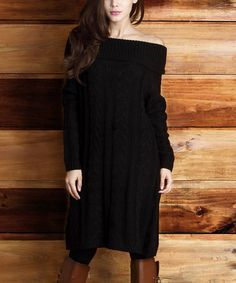 Loving this Black Cable-Knit Convertible Sweater Dress - Women on #zulily! #zulilyfinds