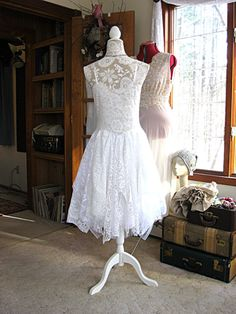 Off White tattered alternative bride boho bohemian by LilyWhitepad