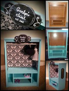 53 trendy baby closet diy storage ideas dress up Doll Furniture, Repurposed Furniture, Furniture Projects, Kids Furniture, Dress Up Closet, Kid Closet, Dress Up Storage, Diy Storage, Storage Ideas