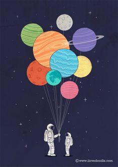 Me gusta la idea de que los globos sean los planetas.