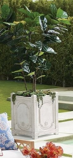 A traditional design on a grand scale, our graciously sized Chantal Planter offers ample planting space for topiaries or floral arrangements. Crafted from crushed stone and resin to give the appearance of handcarved, whitewashed stone. Crushed Stone, Topiaries, Grand Entrance, Pet Home, Dream Garden, Traditional Design, Planting, Floral Arrangements, Hand Carved