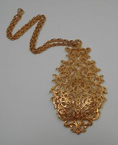 Large Gold Tone Filigree Necklace by GrandmasTrove on Etsy