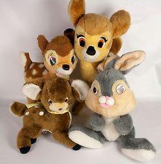 Walt Disney Bambi Deer Thumper Bunny Plush Lot Knickerbocker 1992 Mattel Vtg